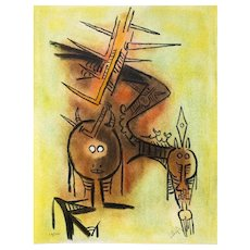 "Belle épine - from the suite ""Pleni Luna"", Original Litograph by Wifredo Lam, 1974"