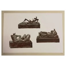 Three Reclining Figures - Original Lithograph by Henry Moore - 1976
