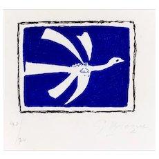 Aout (L'Oiseau) - Original Etching an Aquatint by G. Braque - 1958