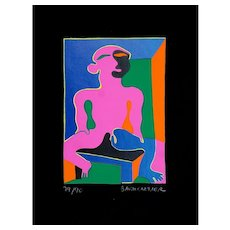 Man in Pink - Original Screen Print by Fritz Baumgartner - 1970 ca.