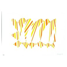 Abstract Yellow and Orange - Original Litograph by Francesco Guernieri