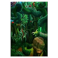 Adàn II Mythological Oil on Canvas by H. Bermudez