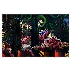 Precencia magica de una serpiente, original oil on canvas by H. Bermudez