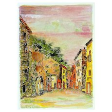 Sunset in the Alleys - Original Etching and Watercolor by G. Omiccioli 1970 ca.