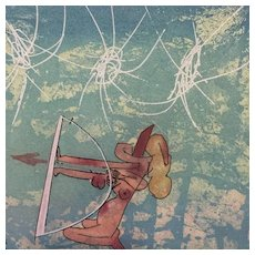 "Archery – from the series ""Les Transesports"" - Original Etching by Roberto Matta, 1977"