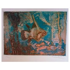 Exotic Fishes - Original Etching by Kaiko Moti, 1960
