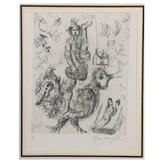 Le Clown Acrobate - 'The Acrobat Clown', Original Etching by Marc Chagall, 1967