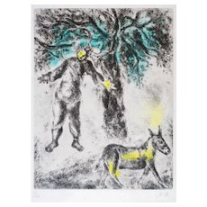 Fin d'Absalom - Original Hand Colored Etching by Marc Chagall - 1958