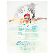 Swimming, Olympic Games Beijing 2008, Original Litograph by Trevor Gould, 2008