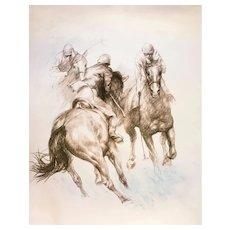 Equestrian, Olympic Games Beijing 2008 - Original Litograph by Zhou Zhiwei