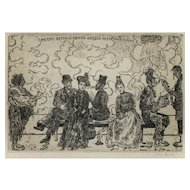 Peste Partout! - Original Etching by James Ensor 1904