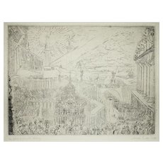 Capture of a strange town - Original Etching by James Ensor - 1888
