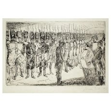 Napoleon's Farewell, Original Etching by J. Ensor - 1897