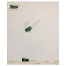 Martignac, Polignac, Cavaignac, Original Enamel on cardboard by Pablo Echaurren, 1970