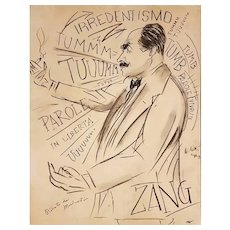 Portrait of Filippo Tommaso Marinetti - Charcoal drawing on paper Attributed to Francesco Cangiullo, XX century