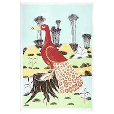 Ptica - Original Screen Print by T.P. Rvat - 1974