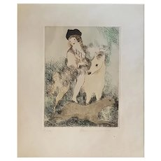 La Promenade à Cheval - Original Etching by Marie Laurencin - 1928