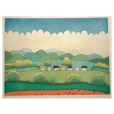Happy Village - 1990s - Ivan Rabuzin - Lithograph