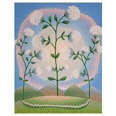White Flowers - 1990s - Ivan Rabuzin - Serigraph