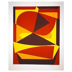 Brown And Yellow Composition - 1980s - Victor Vasarely - Serigraph