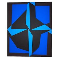 Mixed Blue Composition Serigraph by Victor Vasarely - 1989