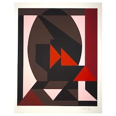 Mixed Pink Composition - 1980s - Victor Vasarely - Serigraph