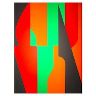 Red And Green Composition Serigraph by Victor Vasarely - 1989