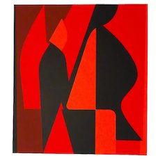 Mixed Red Composition Serigraph by Victor Vasarely - 1989