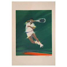 Tennis Player - Original Lithograph by Victor Spahn - Late 20th Century