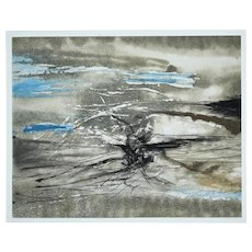 Sans Titre, an original colored etching and aquatint  by Zao Wou-Ki, 1968