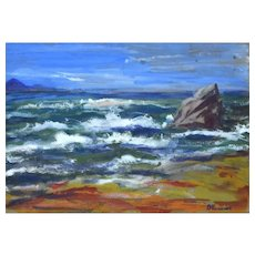 Marine - Original Tempera Painting by Jacques Meunier, 1950's