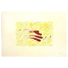 Sin Titulo, a colored lithography on rough cardboard by Antoni Tapies, 1971
