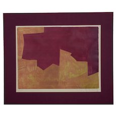Orange And Bordeaux Composition, an original colored lithography by Serge Poliakoff, 1963