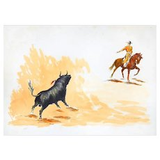 Bull and Bullfighter - Original Lithograph by José Guevara - 1990s