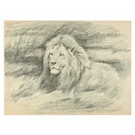Original Drawing of a Lion by W. Lorenz