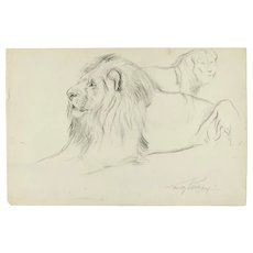 Original Drawing of two Lions by W. Lorenz - SOLD