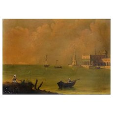 Original Oil Painting of a View of the Royal Palace on the Bosphorus