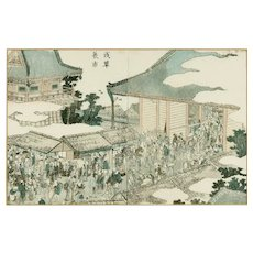 View of Asakusa, a Colored Woodblock Original Print by K. Hokusai, 1802