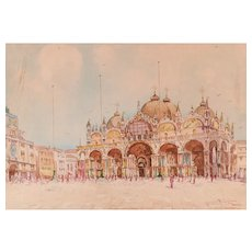 Watercolour on Paper of Piazza San Marco, Venice, XX cent.