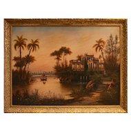 Oriental Landscape with Villa - Oil on Canvas 20th Century