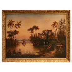 Oriental Landscape with Villa - Oil on Canvas 20th Century