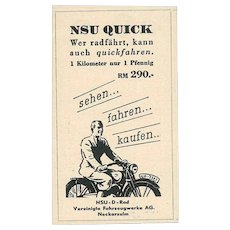 Nsu Quick Advertising - Original Vintage Advertising on Paper - 1930s