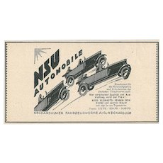 Nsu Automobile Advertising - Original Vintage Advertising on Paper - 1920s