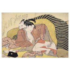 Spring Leaf - Original Woodblock print by Shunso Katsukawa - 1790 ca.
