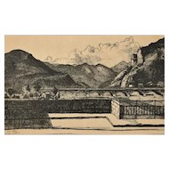 Vintimille - Original China Ink Drawing by Jane Levy - 1932