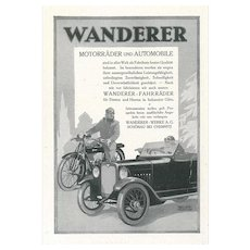 Wanderer - Vintage Advertising on Paper - 1930s