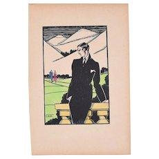 Elegant Man in a Landscape - Original Woodcut by J.J. Coleth - 1920/40