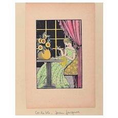 Sewing Woman - Original Woodcut by J.J. Coleth - 1920/40