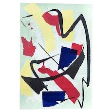 Abstract Composition - Original Screen Print by Luigi Montanarini - 1970s