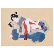 Japanese Sexual Encounter - Original Gouache on Silk Late 19th Century